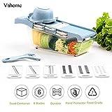 Cortador de verduras de cocina con 6 Cuchillas intercambiables de acero inoxidable Protector de mano contenedor de almacenamiento cortador de fruta de alimentos