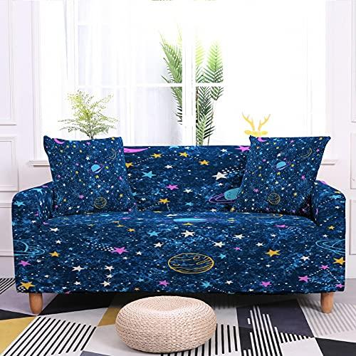 WXQY Juego de Fundas de sofá elásticas con Estampado de Luna y Estrellas Funda de sofá Universal Four Seasons Funda de sofá Antideslizante A3 1 Plaza