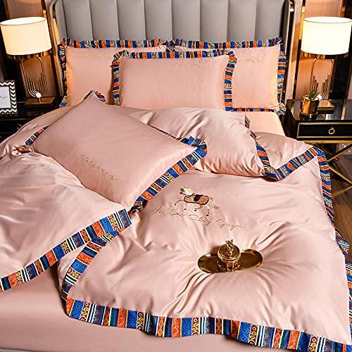 Exlcellexngce Funda Nordica Cama 180,Ropa De Cama De Seda, Estilo Europeo De Verano Lavable Silky Silky Friendly Single Bed Doble Single Duvet Funda De Almohada Regalo-F_220 * 240 Cm (87'* 94') 4pcs
