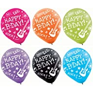 "Vibrant Neon Printed Latex Birthday Party Balloons Decoration, 6 Pieces, Made from Latex, Neon Doodle Party, 12"" by Amscan"