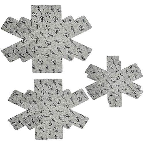 Ooscy Juego de 12 protectores de ollas y sartenes, antideslizantes, para proteger los separadores, ollas, ollas y sartenes (gris)