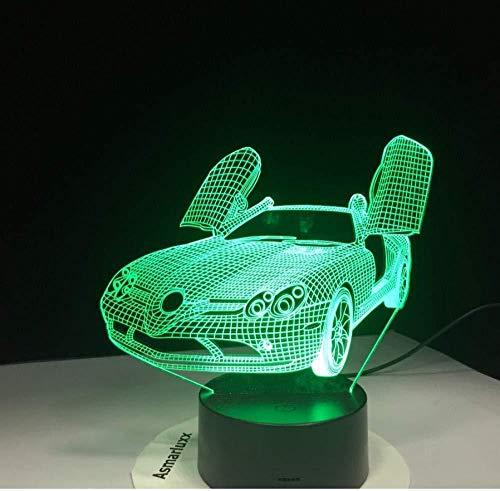 Luz nocturna 3D LED de luz nocturna Corredera de puerta de tijera De Habitación De Niños Lámpara De Mesa Los Mejores Regalos De Vacaciones De Cumpleaños Para Niños Con carga USB, control táctil d
