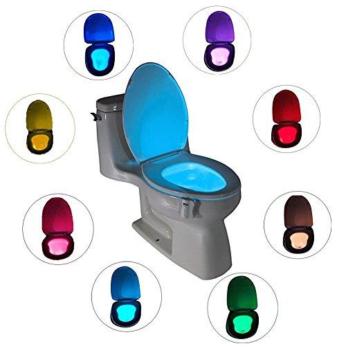 Motion Activated LED igienici luce di notte 8 Modifica colori egymcom bagno privato servizi igienici della luce di notte (si attiva solo in Darkness)
