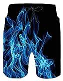 Fuoco Tronchi per la Spiaggia da Uomo Bermuda Costume da Bagno Ragazzo Modello Interessante 3D Stampato Pantaloncini da Bagno con Pocket Blu