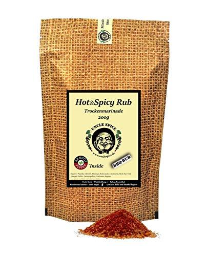 Uncle Spice Hot&Spicy BBQ-RUB - 200g Grillmarinade in Premium-Qualität - hausgemachte Gewürzmischung, Marinade für Fleisch und Gemüse, Magic Dust Trockenmarinade für Smoker
