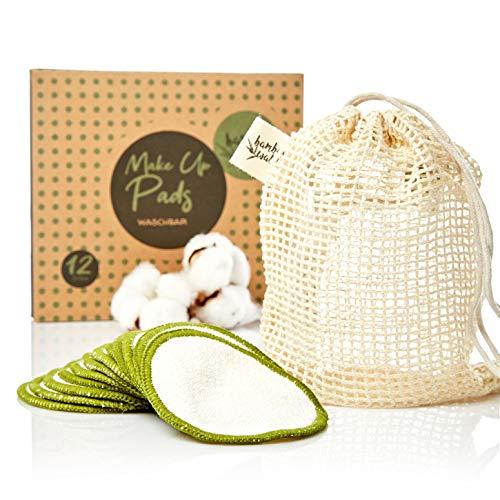 bambuswald© Reinigungspads (12 Stück) bzw. Abschminkpads aus Bambus - 100% ökologisch & nachhaltig | Kosmetikpads inkl. Tragetasche für Gesichtsreinigung - Waschbare Reinigungstücher Abschminktücher