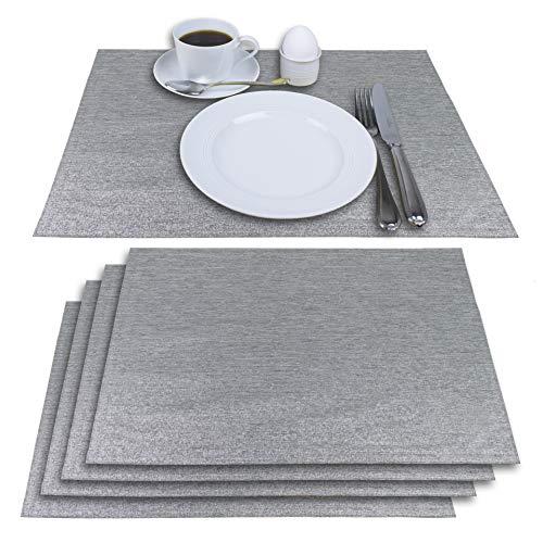 Delindo Lifestyle® Tischsets Platzsets MONDÄN Silber grau, Glitzer, für Feste und zu Weihnachten, 4er-Set