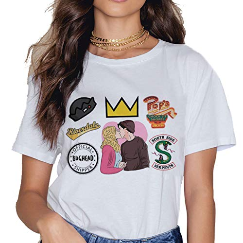 XXW Riverdale Zona Sur De La Camiseta De La Vendimia Lado Sur Serpiente Mujeres Camiseta Divertida De Dibujos Animados De Harajuku Ullzang Cobra Print Top