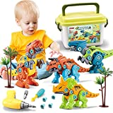 Dinosaur Toys for Kids 3 4 5 6 Year Old Boys and Girls Take Apart Construction Toys for Toddler Engineering Building Set STEM Toys Kits for Children Birthday Christmas Educational Gifts
