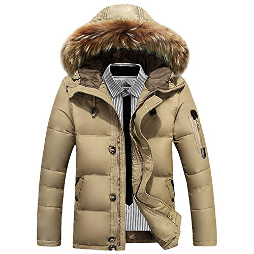 Khaki Daunenjacke, Männer kurze Freizeitkleidung Pelzkragen Kapuze Freizeitkleidung dicke Winterkleidung neue Winterkleidung-M