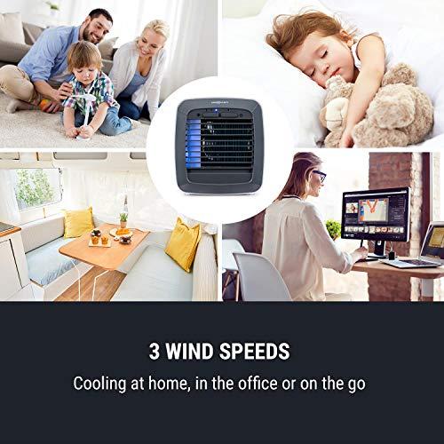 oneConcept IceCube - Luftkühler mit 6 Watt - Multi Edition, Kapazität: 600 ml, 3-in1: Luftkühler, befeuchter und -reiniger, Gentle Cool Technology, inkl. 2 Kühlakkus, 3 Geschwindigkeiten, weiß