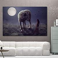 """抽象ウルフムーンガールキャンバス絵画風景壁アートポスターとプリント壁の写真リビングルームの家の装飾23.6"""" x 35.4""""(60x90cm)フレームなし"""
