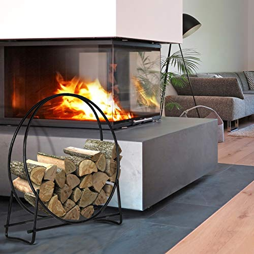 Amazing Deal 40-Inch Tubular Steel Log Hoop Firewood Storage Rack Holder Round Display New
