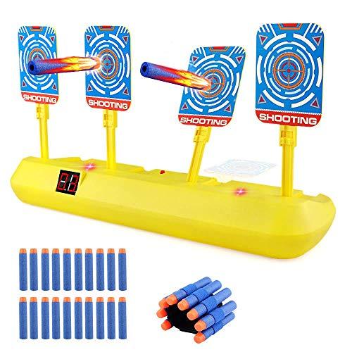 Blasland Digitale Zielscheibe für Nerf Pistole, Kinderspielzeug Auto Reset mit Licht Sound Effekte & 20 Darts für Nerf Gun N-Strike Elite/Mega/Rival Series Indoor Mädchen Jungen Spiele Yellow