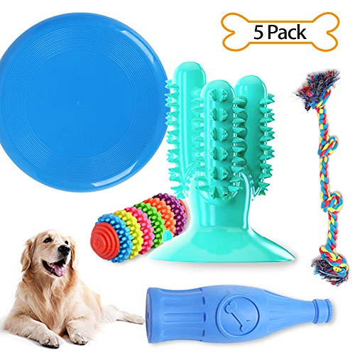 Puppy Teething Chew Toys, Best Teething Toys for Puppies, Toys for Small Dogs, Dog Rope Toys Tug of War Dog Toy Bundle Toothbrush Squeaky Rubber Bottle Durable Dog Chew Toys 5 Pack Puppy Toys