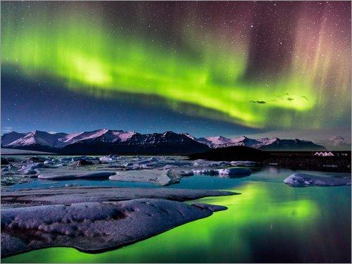 Acrylglasbild 90 x 70 cm: Island: Polarlichter am Jökulsarlon von Sascha Kilmer - Wandbild, Acryl Glasbild, Druck auf Acryl Glas Bild