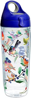 Tervis 1231154 Watercolor Songbirds Insulated Tumbler with Wrap and Blue with Gray Lid, 24oz Water Bottle, Clear