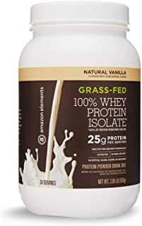 Amazon Elements Grass-Fed 100% Whey Protein Isolate Powder, Natural Vanilla , 2.05 lbs