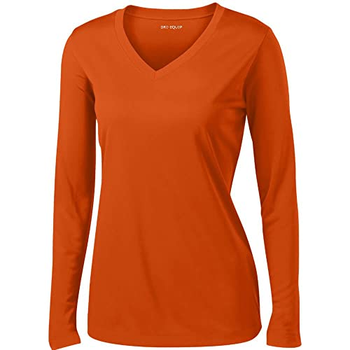 7016c569a716d8 DRI-EQUIP(tm) - Ladies Long Sleeve Moisture Wicking Athletic Shirts, Orange