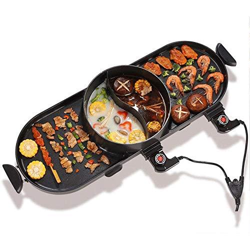YFGQBCP 涮 vom Grill Elektrogrill -Elektrisches Raclette Grill mit hohen Dichte Granit Grill Stein, High Power Two-Tier separater Wärmequelle for Platte/Beilagen