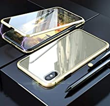 MQman 360 ° Full Protection Front + Back Glass Plate iPhoneX iPhoneXs Case Aluminum Bumper Full Cover Magnet Type Easy Installation Support Wireless Charging (Gold×Gold, iPhone X/iPhone Xs)