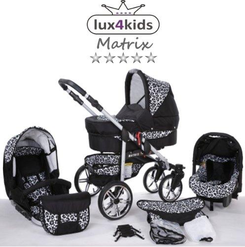 Chilly Kids Matrix II 3 en 1 Poussette combinée (siège auto inclus les adaptateurs, habillage pluie, moustiquaire, roues pivotantes 62 couleurs) 58 noir & léopard de neige
