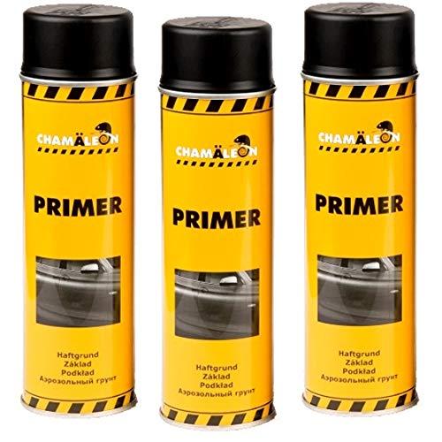 Chamäleon 1K Grundierung Spray 3 x 500ml Schwarz Füller Acryl Primer Filler Schichtfüller Korrosionsschutz