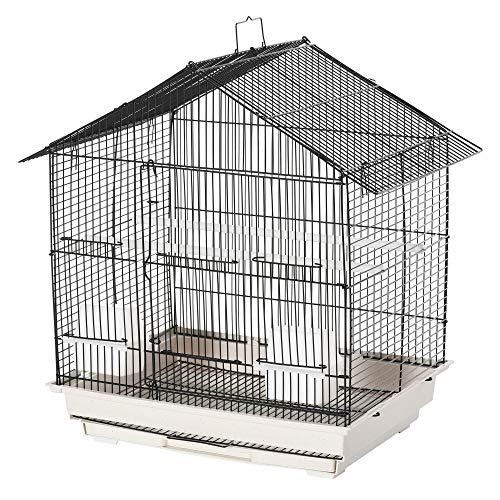 Pawhut Vogelkäfig Vogelhaus Vogelvoliere für Papagei mit Sitzenstangen Futternäpfe ausnehmbarer Bodenschale Weiß 54 x 35 x 56 cm