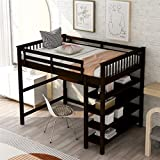 Wood Loft Bed with Desk and Storage, Loft Bed Full-Length Guardrail, No Box Spring Needed (Full,Espresso)