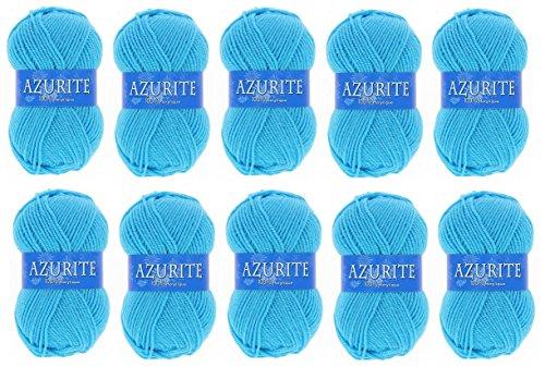 les colis noirs lcn Lot 10 Pelote de Laine Azurite 100% Acrylique Tricot Crochet Tricoter - Bleu - 2635