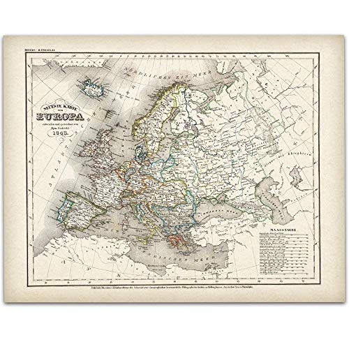 1843 German Map of Europe - 11x14 Unframed Art Print - Great Vintage Home Decor and Gift Under $15