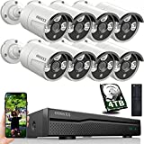OOSSXX 8CH 5MP POE Home Security Video Surveillance Camera System, 8pcs Wired Bullet IP Cameras Kit, 8-Channel NVR with 4TB Hard Drive, 24/7 Recording, One-Way Audio, H.265+ Nigh Vision