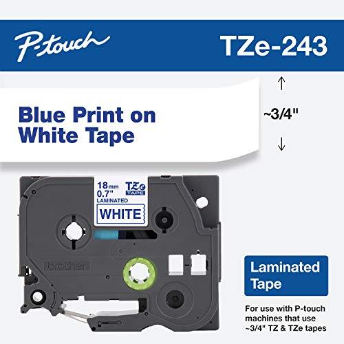 Brother band, 19 mm (3/4 inch), blauw op wit (TZe243), detailhandelverpakking wit