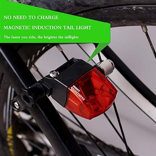 CYSHAKE Fahrradrücklicht Magnetische Induktion Stromerzeugung Fahrradbeleuchtung Umweltschutz Einfache Montage Warnung Kompakte Fahrradrückleuchte