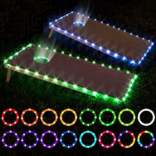 LED Cornhole Lights, remote control Cornhole Board Edge and Ring LED Lights, 16 Color change by yourself, a great addition for playing Bean Bag Toss Cornhole game at the family backyard at night,2 set