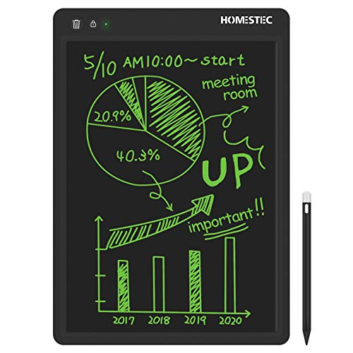 HOMESTEC Tableta Escritura LCD de 13.5 Pulgadas, Pizarra Digital Color, Ideal Juguetes para niños y Adultos, Tableta gráfica para Escribir, Dibujar, Trabajar - Negro