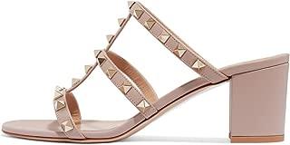 Women Open Toe Studded Slide Sandals Gladiator Strappy Block Heel Slip On Backless Slipper Shoes