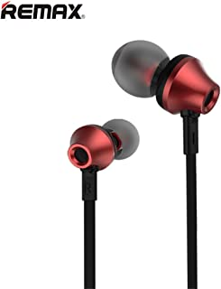 Remax RM-610D Portable Sport Stereo in-Ear with 3.5mm Jack Earbuds Hands-Free Earphone Headset for Smartphone (Red,Length 47.2 Inches)