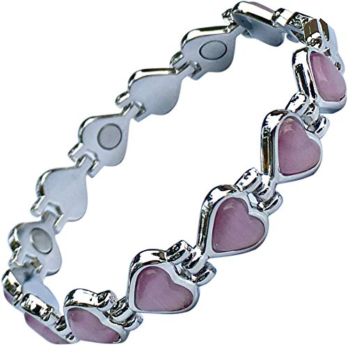Magnetic Therapy Valentine Bracelet for Women - Pretty Pink Heart Links Semi-Precious Gemstones Fits Wrists up to 18 cm Adjustable - Great for Natural Pain Relief by Helena Rose Jewellery