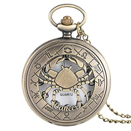 JTWMY Constelaciones Serie temática Reloj de Bolsillo de Cuarzo Reloj del Zodiaco Cadena Regalo-Cáncer