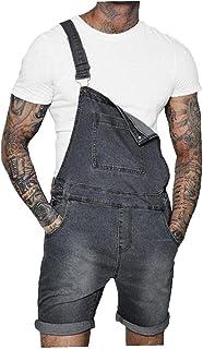 fregthf Men Denim Bib Shorts Overalls Slim Whitening Jumpsuit with Buttons Pockets Grey 2XL