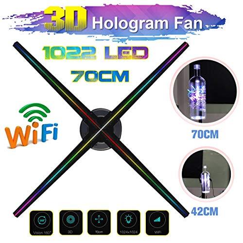 3D Holographische Werbung Projektor, 70 cm WiFi 3D Holographische Anzeige LED Fan Ausstellung Projektor Hologramm Werbung Displayer mit 16G TF Karte (UK),Usplug