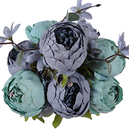 Luyue Vintage Artificial Peony Silk Flowers Bouquet Home Wedding Decoration (New Dark Blue)