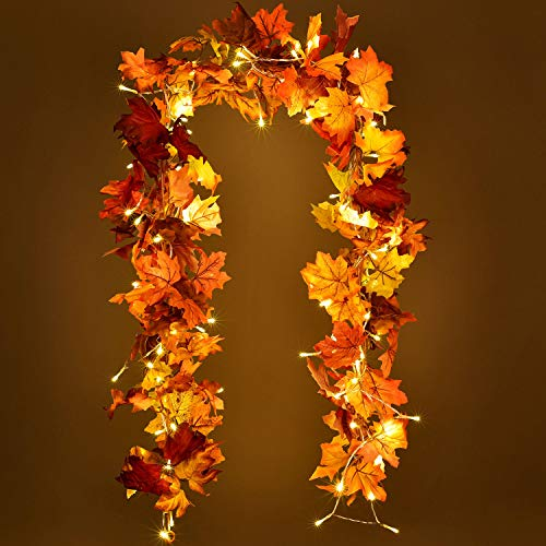 Lvydec 2 Pack Fall Garland Decoration - 5.8ft/Strand Artificial Maple Garland with 16ft 40 LED String Lights for Home Wedding Party Thankgiving