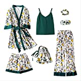 XFLOWR Damen Pyjamas Sommer & Frühling 7-teilige Pyjamas Anzug Bademantel Frauen gemütlich Blumendruck Robe Tops + Hosen Pyjama Cotton Femme XL