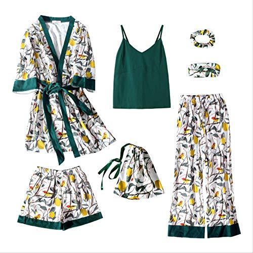 XFLOWR Damen Pyjamas Sommer & Frühling 7-teilige Pyjamas Anzug Bademantel Frauen gemütlich Blumendruck Robe Tops + Hosen Pyjama Cotton Femme M.