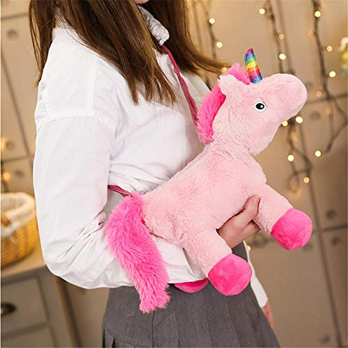 Cartone Animato Unicorno Rosa Borse di Scuola Farcite di Animali Borsa di Peluche per Ragazze Neonate Giocattoli Carini Bambola Unicornio Zaino Regalo di Compleanno per Bambini 31Cm