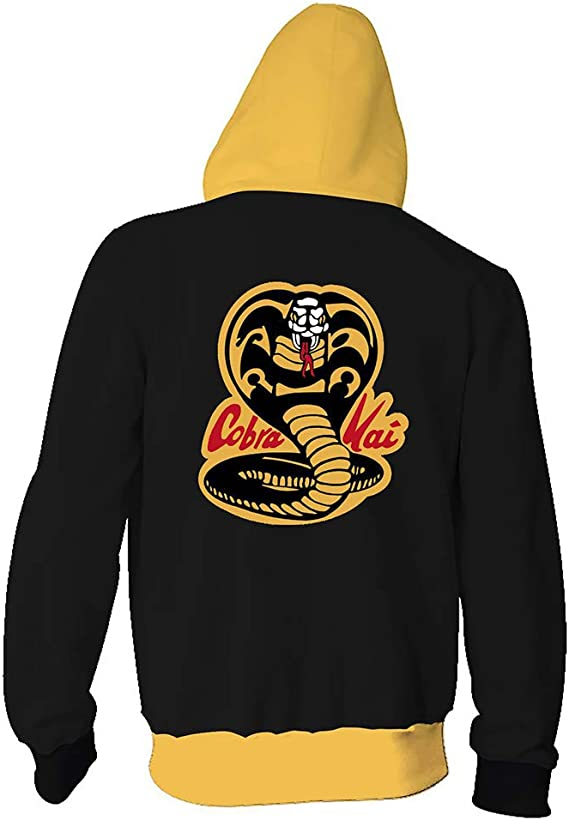 Karate Kid Hoodies Ni/ño//Ni/ña Sudadera con Capucha Cobra Kai Ni/ños Amarillo Adecuado para Ni/ños De 4 a 13 A/ños Sudadera con Estampado 3D XS-L