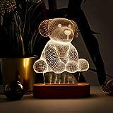 Lámpara de noche 3D en forma de perro, ilusión 3D, lámpara de noche con diseño de perro lindo. Lámpara de escritorio de acrílico regalo para amantes de los animales.