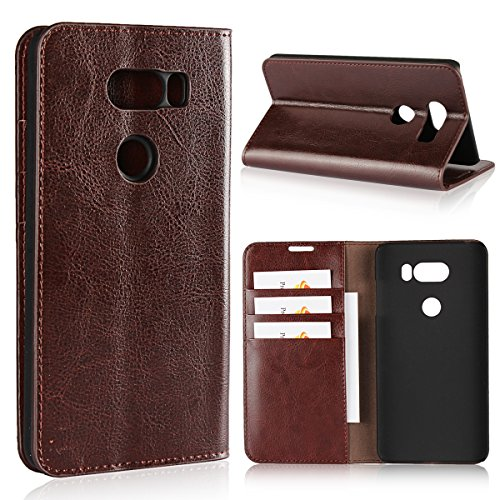iCoverCase for LG V30 Case, Genuine Leather Wallet Case [Slim Fit] Folio Book Design with Stand and Card Slots Flip Case Cover for LG V30 (Brown)